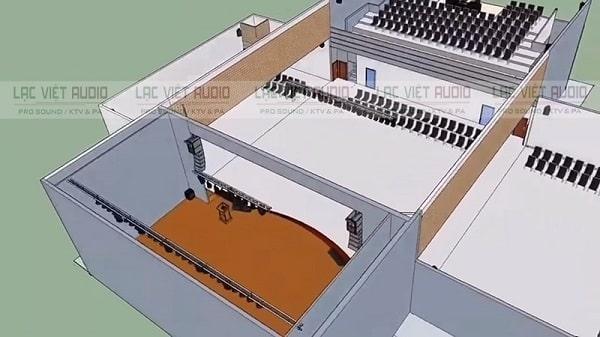 Thiết kế hệ thống âm thanh hội trường đi kèm bản vẽ 3D