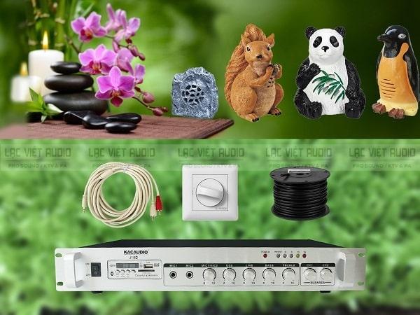 Các thiết bị trong dàn âm thanh cho quán cafe sân vườn: loa, amply, chiết áp,...