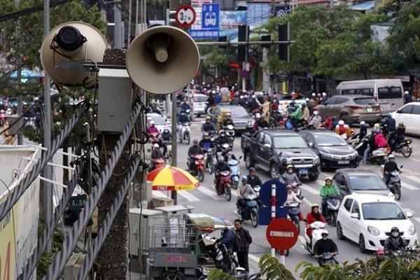 Hình loa phát thanh trên đường phố