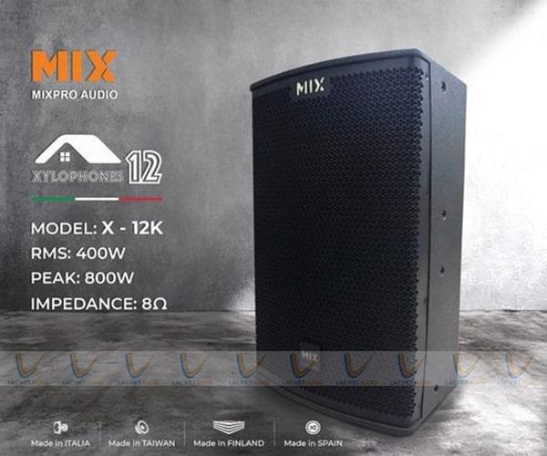 Loa karaoke MIX X-12K có thiết kế sang trọng nhỏ gọn