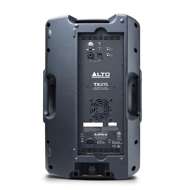 Mặt sau loa Alto TX215 trang bị đầy đủ cổng kết nối và các thông số cơ bản